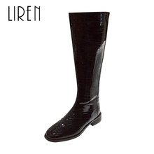 Liren 2019 New PU Lady Boots Winter Women Fashion Casual Sexy Mid-Calf Microfiber Comfortable Square Heels Zip
