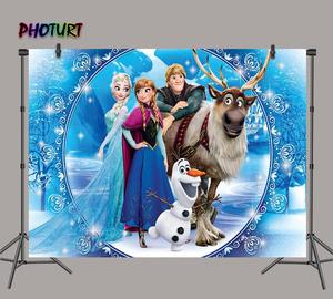 Image 1 - Photurt 냉동 2 사진 배경 소녀 생일 파티 배경 여왕 엘사 안나 winterland 비닐 사진 스튜디오 소품