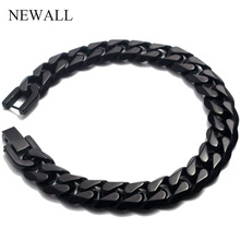 Newall 2019 stainless steel men bracelet chain cuban link gift male jewelry accessory black retro Punk charm hand