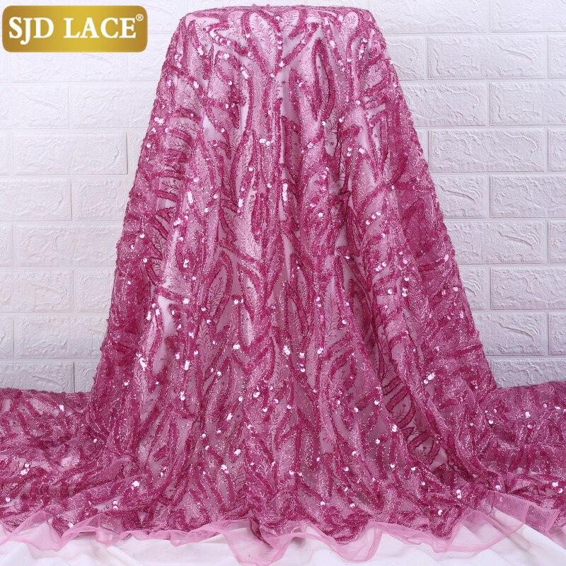SJD dantel son soğan fransız tül dantel kumaş el yapımı Sequins afrika dantel kumaş nakış örgü danteller düğün için PartyA2219