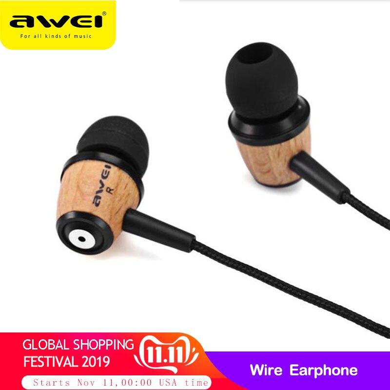 Original AWEI Q9 Wooden in Ear Earphones HIFI Headset Super Bass Jack 3.5mm Earphone for iPhone Xiaomi piston 3 Sony