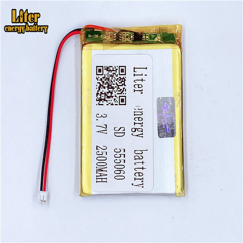 1.5MM 2pin connector 555060 <font><b>2500mah</b></font> <font><b>3.7V</b></font> e-books GPS PDA Car recorder Li-polymer <font><b>battery</b></font> <font><b>LiPo</b></font> <font><b>battery</b></font> image