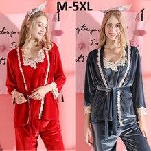 Robe-Sets Pajamas Velvet Homewear Bride-Robe Lace Sexy Plus-Size Woman 5XL Winter