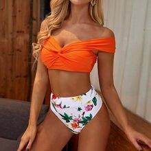JAYCOSIN jednokolorowe odkryte ramiona Bikini kobiety strój kąpielowy kwiat wydruku wysokiej talii Sexy Biquini kostium kąpielowy damski Bikini na plażę