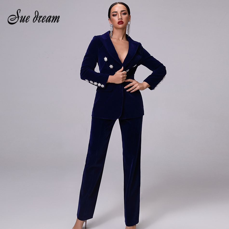 2019 New Women's Luxury Dark Blue Velvet Long-sleeved Crystal Diamond Buckle Jacket & Trousers 2 Pieces Two-piece Christmas Coat