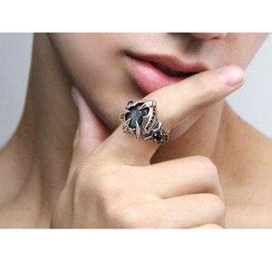Image 3 - Lengkea takı erkekler yüzük 925 ayar gümüş yüzük kişilik yaratıcı Labradorit taş büyük boy Açılış yüzük kadınlar takı