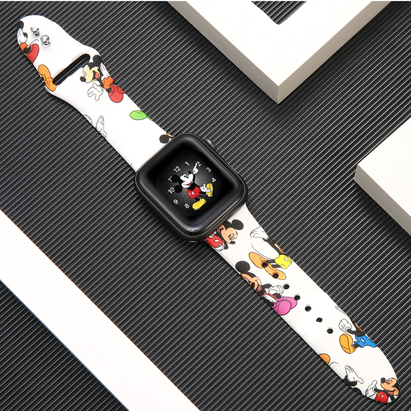 Silicone Strap For Apple Watch Band 42mm 38mm Iwatch Correa 44mm 40mm 5 4 3 2 Pattern Sport Bracelet Apple Watch 5 Accessories