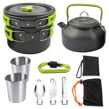 Camping Cooking Set Backpacking Portable Picnic Cookware Outdoor Hiking Pan Bowl(China)