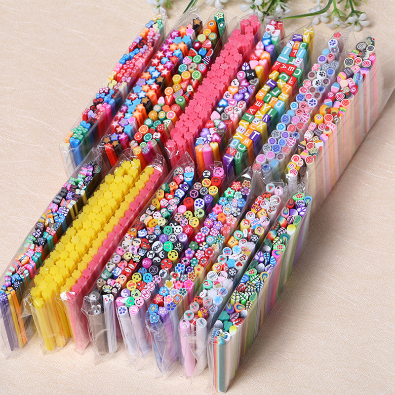 50Pcs Nail Art Decorations Fruit Flower Feather Fimo Canes Stick Rods Polymer Clay Stickers Nails Tips Manicure Accessories New