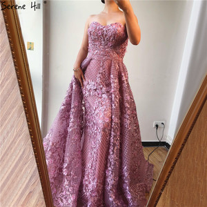 Image 2 - Dubai Hồng Dây Ren Fromal Váy 2020 Nàng Tiên Cá Lệch Vai Pha Lê Vũ Hội Đồ Bầu Ảnh Thật DLA70186