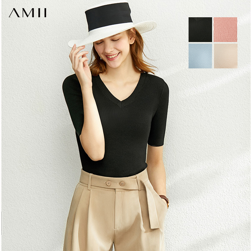 AMII Minimalism Spring Summer Solid Knit Shirt Women Causal Slim Vneck Basic Pullover Tops 12020013