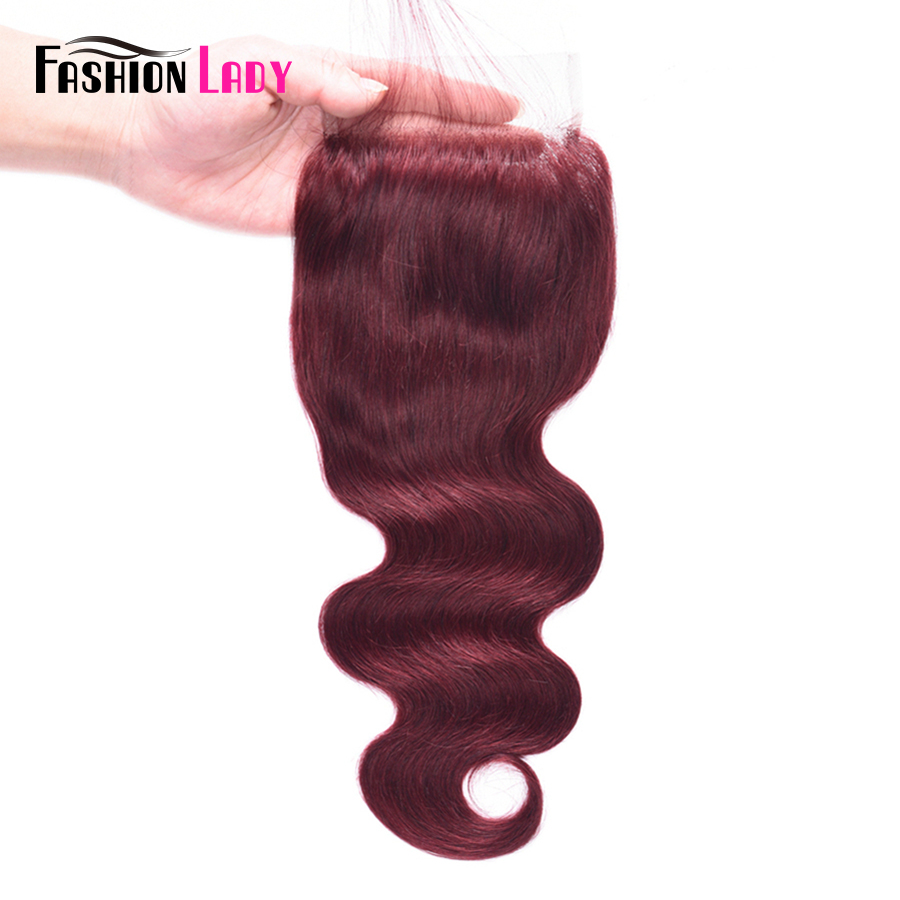 Fashion Lady Pre-Colored Peruvian Human Hair Lace Closure 99j / Burgundy Body Wave 4*4 Red Closure Non-Remy