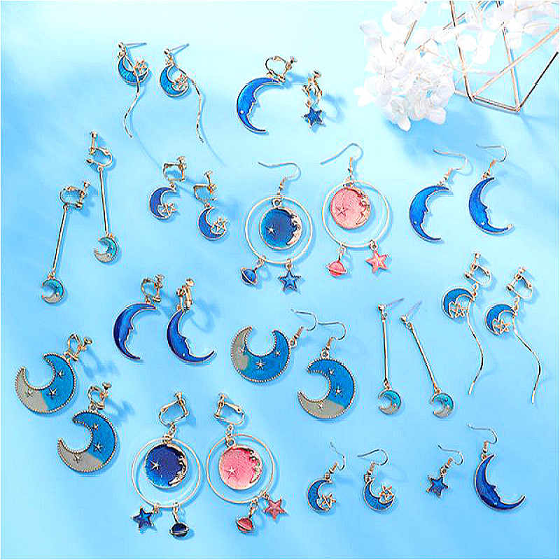 2019 New Fashion Drop Dangle Earrings Lovely Simple Blue / The Moon / Starry Sky / Long Section Asymmetric Pendant For Ladies