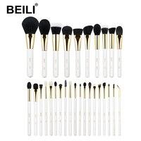 BEILI 2019 Gold White make up brushes set Powder Foundation Natural XGF Goat hair eye Blending blush gold pro cosmetic brush set