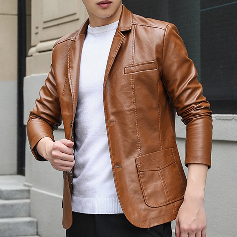 Fall Spring Casual Smart Mens Male Black Wine Red Suit Collar Blazer Coat , Man Faux Pu Leather Blazers 6xl Coats For Men