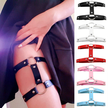 Sexy PU Leather Garter Women Punk Heart Leg Harness Bondage Belts Harajuku Elasticity Body Tight Suspender Strap Belt - discount item  39% OFF Women's Intimates