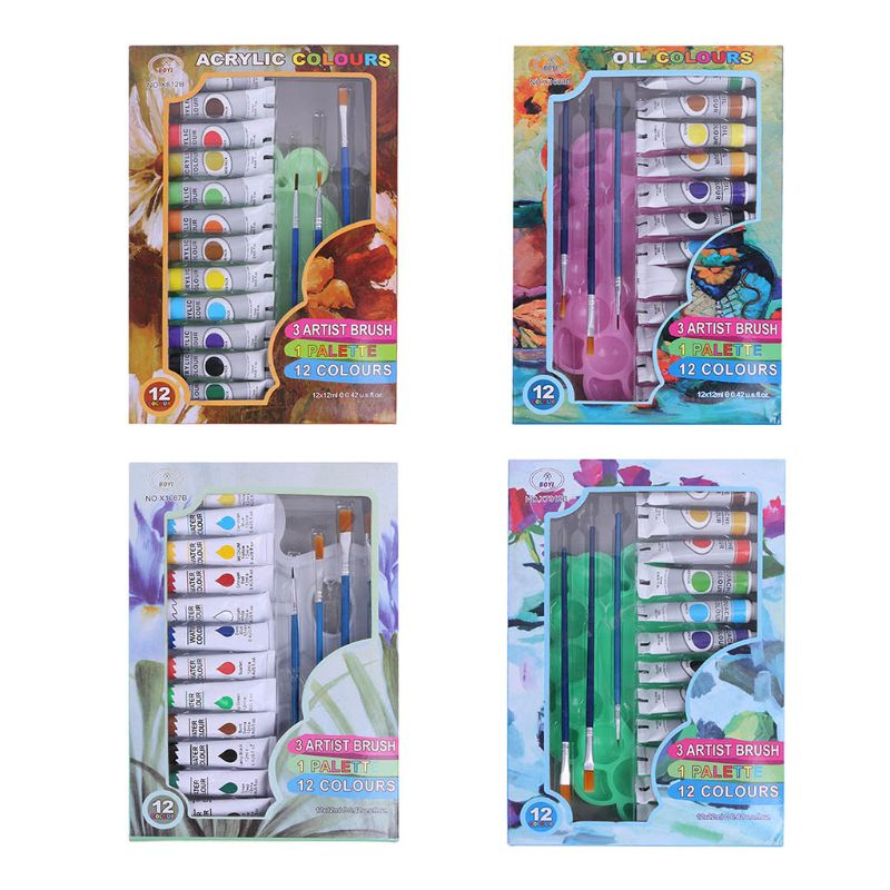 12ml 12 Colors Professional Acrylic Paints Brush Palette Set Hand Painted Drawing Painting Pigment Artist DIY Wholesale