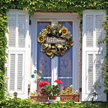 Wreath Front-Door-Spring for Artificial Handmade Sunflower Hanging-Pendants Wedding-Party