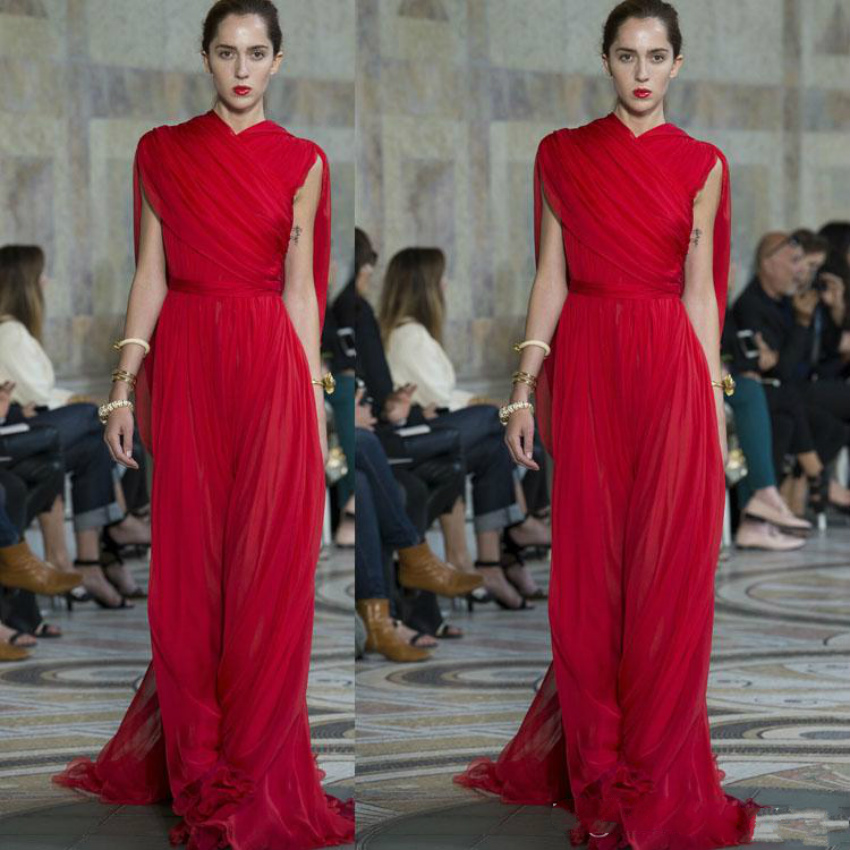 2020 Red Evening Dresses Ruffles High Neck Chiffon Prom Gowns Floor Length Runway Fashion Dresses