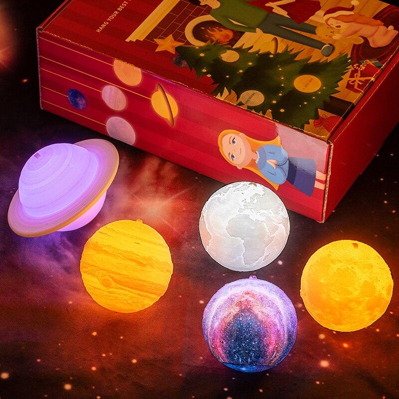 Новая лампа с 3D принтом, планетарные огни, Галактический ночник, Рождественские огни, Лунная лампа, рождественские украшения (без шнурка)