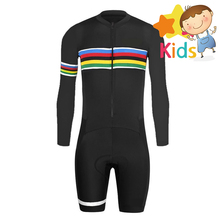Children #8217 s Trisuits Cycling Skinsuit for Kids Triathlon Cycling Clothing Set Body Suit Cycling Clothing Ciclismo Maillot Cycling cheap MAKOSHARK Boys Factory Direct Sales Long Sleeve GEL Breathable Pad 100 Polyester Full 80 Polyester and 20 Stretch Spandex