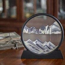 Paysage de sable profond en 3D, verre rond, 7/12 pouces, affichage en mouvement, cadre de sable fluide