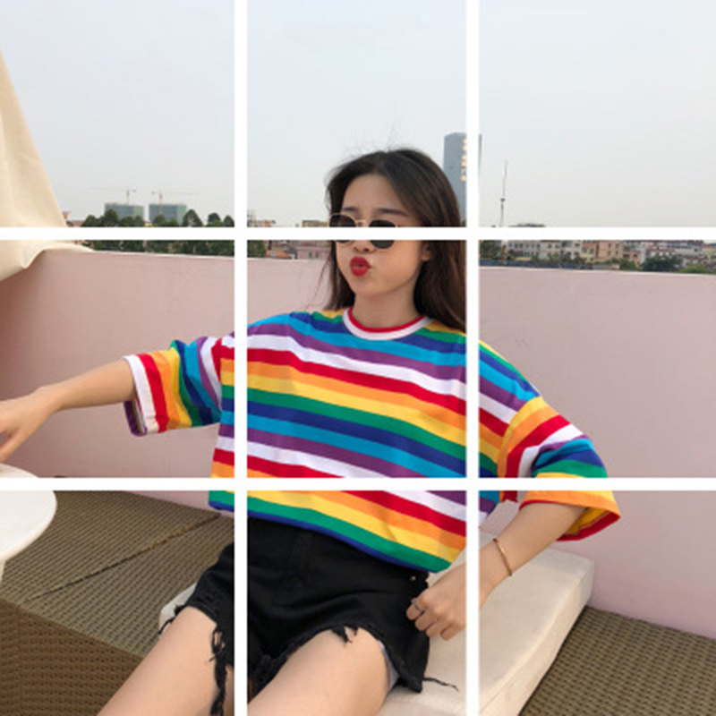 New T-Shirt Women Spring And Summer New Personality Rainbow Striped O-Neck Casual Tops Short-Sleeved T-Shirt Female Hot Sell