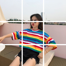 New T-Shirt Women Spring And Summer Personality Rainbow Striped O-Neck Casual Tops Short-Sleeved Female Hot Sell
