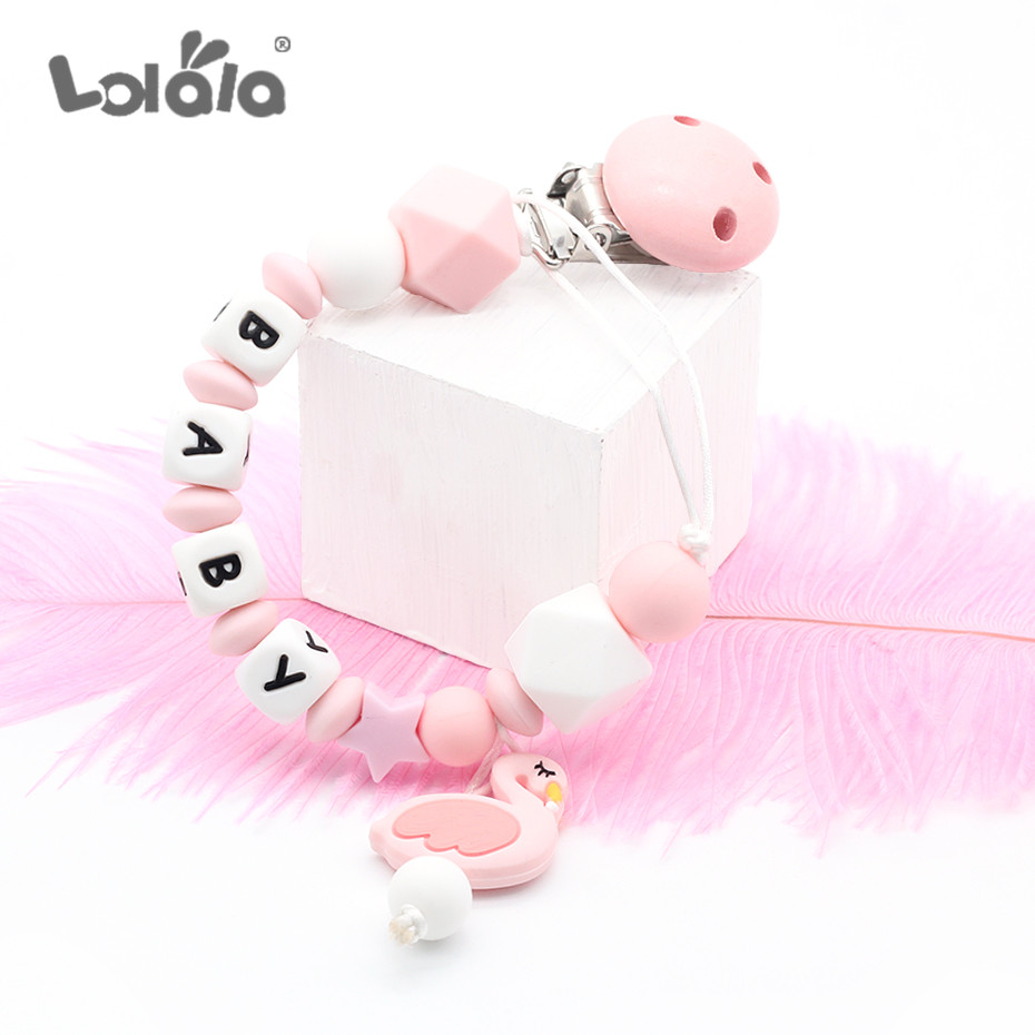 NEW Custom Name Silicone Teething Pacifier Clips Silicone Beads Pacifier Chain Holder Nipples Cute Swan Baby Chew Toys Speen
