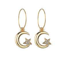 Trendy Metal Circle Hoop Earrings For Women's Party Jewelry Cute Owl Stars Moon Pendant Drop Earrings Girl Christmas Gift(China)
