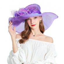 Purple Fascinators For Women Elegant Sun Hat Outdoor Casual Organza Travel Cap Panama Bowler Hats Wide Brim Beach hat