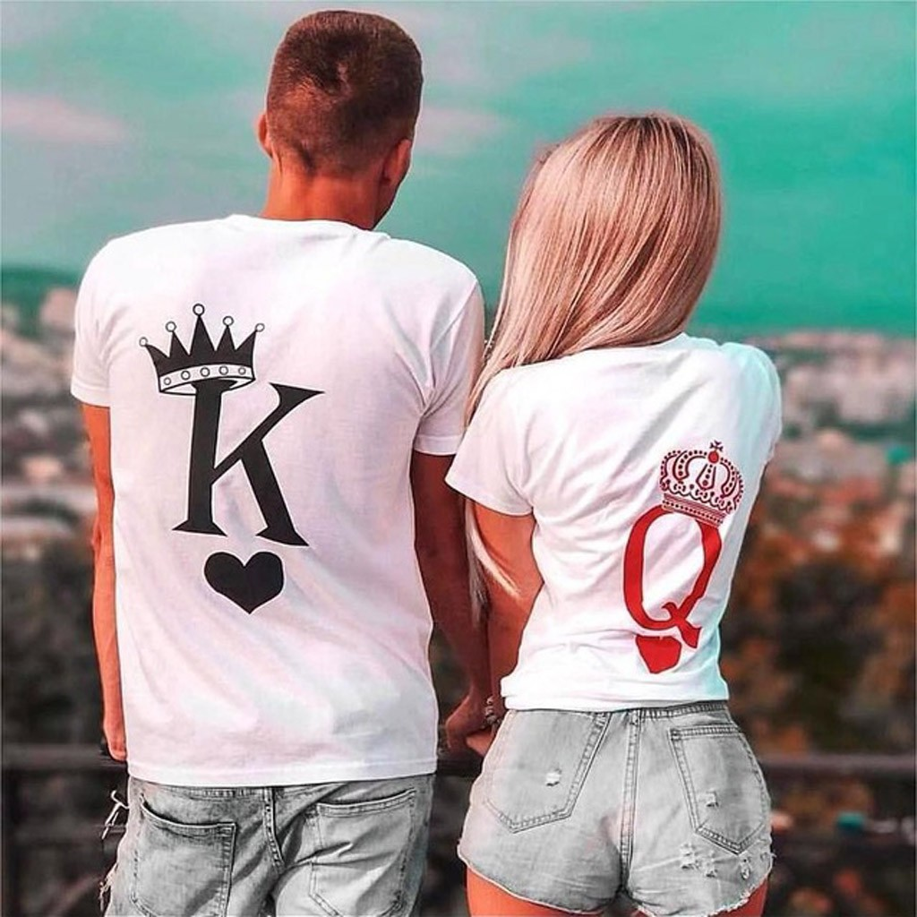 Men's And Women's Valentine's Day O-Neck Letters Slim Fit Short Sleeve T-Shirt couple clothes funny t shirts women tshirt top