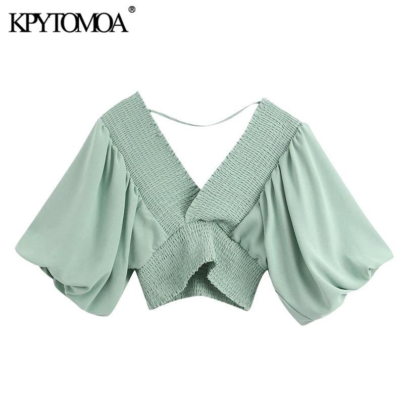 KPYTOMOA Women 2020 Elegant Fashion Stretch Cropped Blouses Vintage V Neck Puff Sleeve Elastic Smocked Female Shirts Chic Tops