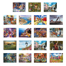 Diy 1000 peças conjunto de quebra-cabeça bela pintura país paisagem jigsaw brinquedo crianças presentes adultos