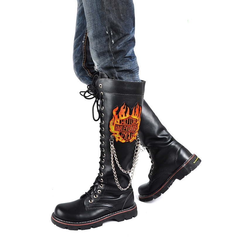 Unisex Male Female Gaotong Shoes Punk Rock Rivet Heavy Metal Off-Roading Motorcycle Riding Boots