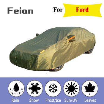 Full Reflective strip Car Covers Snow Ice Dust Wind Sunshade UV Cover Foldable Car Outdoor green Protector Cover for Ford
