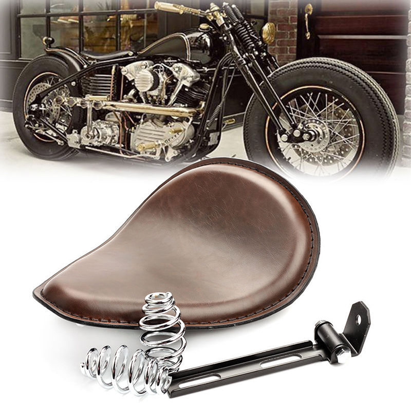 Brown Leather Motorcycle Driver Solo Seat 3