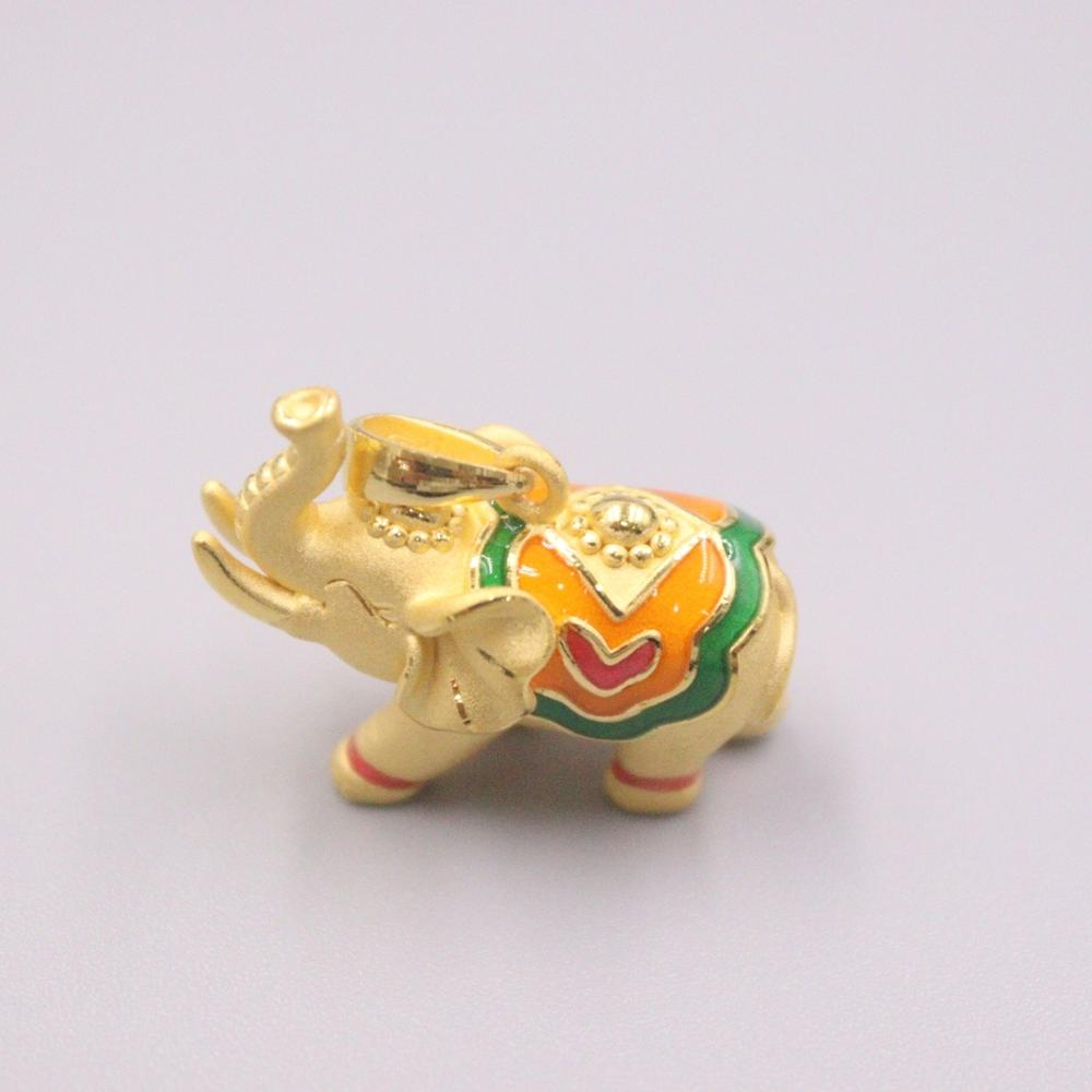 Gold Jewelry Girl Heart 3D Hard Gold Charms Fine Color Elephant 999 Gold Pendant Lucky Bead Lucky Gift