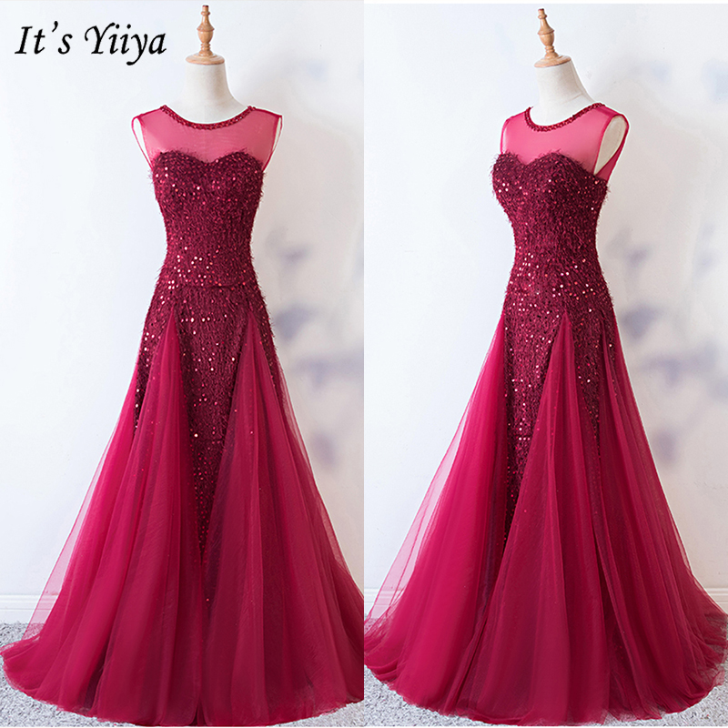 It's Yiiya Evening Dress 2019 Sequins Sleeveless Burgundy O-Neck A-Line Dresses Elegant Woem Party Long Robe De Soiree E1007