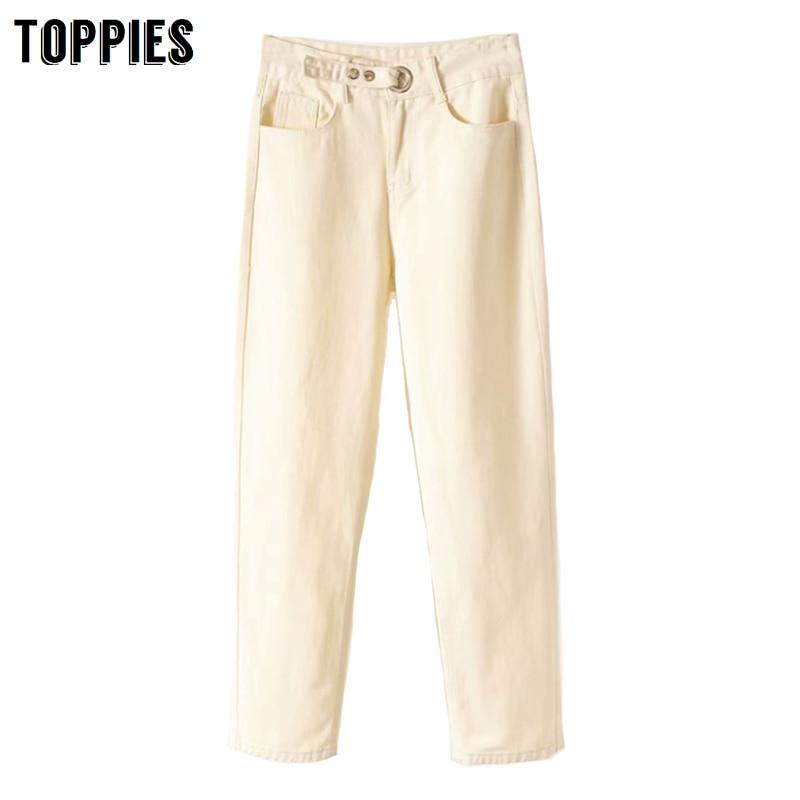 White Jeans Women Vintage Blue Denim Pants Button High Waist Jeans High Street Fashion 2020