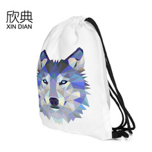 Wolf Head Digital Printing Bundle Pocket with Euro-American Wind Drawing Rope Shoulder Backpack for Customization