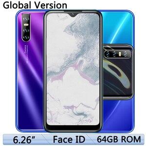 Face ID A80 Android 13MP Smartphones Quad Core Original 4G RAM 64G ROM 2sim Mobile Phones Unlocked 6.26