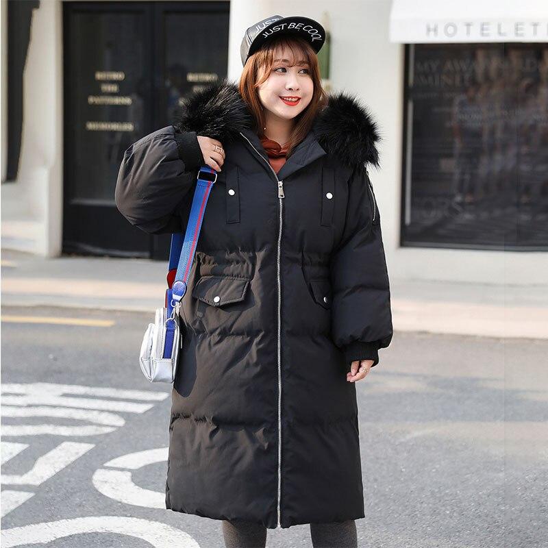 Черная/белая/розовая Зимняя куртка размера плюс, Женская длинная куртка с меховым воротником, большой размер, стеганая верхняя одежда, теплое пальто DZA027