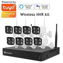 Tuya Smart Life 8CH Surveillance Kit 1080P WIFI CCTV System Monitor NVR CCTV Camera Security Waterproof With Google Home Alexa