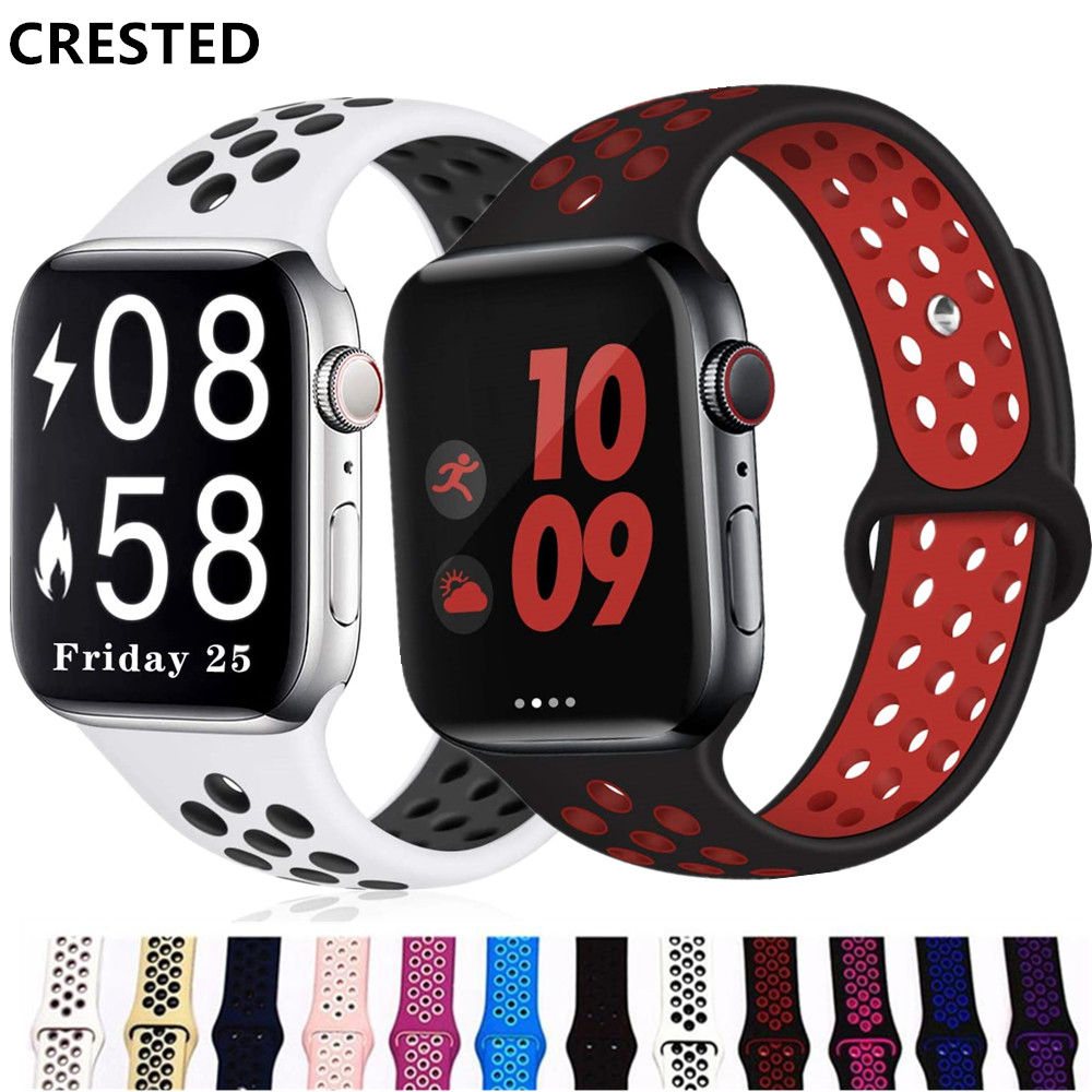 Silicone Strap For Apple Watch Band 44 Mm/40mm IWatch Band 42mm/38mm Breathable  Bracelet Apple Watch Series 5 4 3 38 42 40 44mm