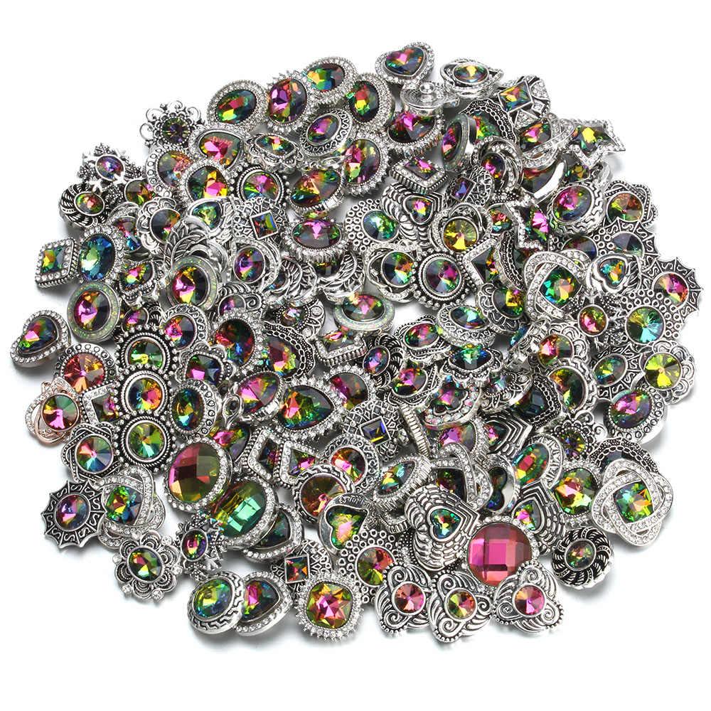10 Pcs/lot Wholesale Snap 18 Mm Snap Tombol Campuran Putih Berlian Imitasi Bunga Logam Kancing Jepret untuk Snap Gelang Bangle