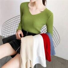 Женский трикотажный пуловер с длинным рукавом и v образным вырезом