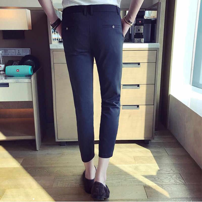2019 nuevos pantalones de vestir de negocios ajustados para hombres pantalones de traje hasta el tobillo hombres verano traje Formal pantalones Plus tamaño 28-36