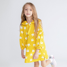 Little Girls Dress Long Sleeve Hoodies Dresses for  Childrens Clothing Bunny Printing Kids Clothes Yellow