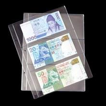 Criativo 10 Unidades/pacote PVC Transparente Álbum Páginas 3 Bolsos Dinheiro Bill Nota Moeda Coleção Titular Foto Álbuns Pastas